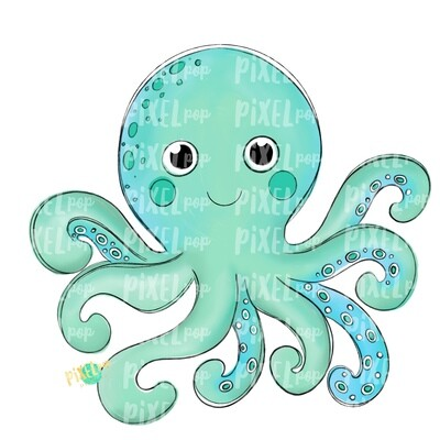 Aqua Octopus Art PNG | Octopus | Octopus Art | Octopus Sublimation | Octopus Design | Octopus Clip Art | Octopus Doodle | Digital Fish Art