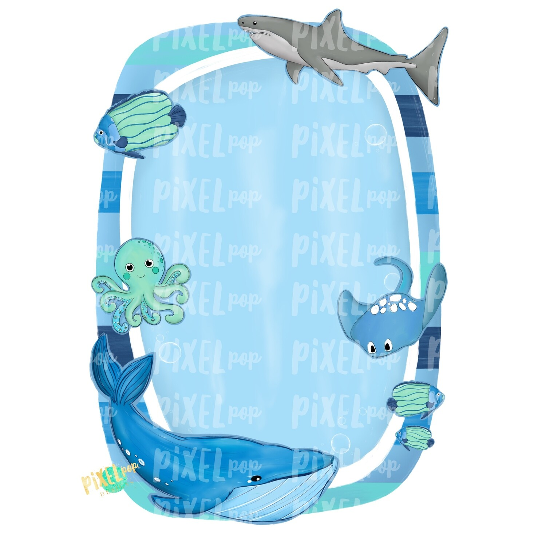 Ocean Animals Frame Blank PNG | Digital Ocean Design | Shark | Whale | Tropical Fish | Octopus | Manta Ray | Blue Whale | Ocean PNG | Sea