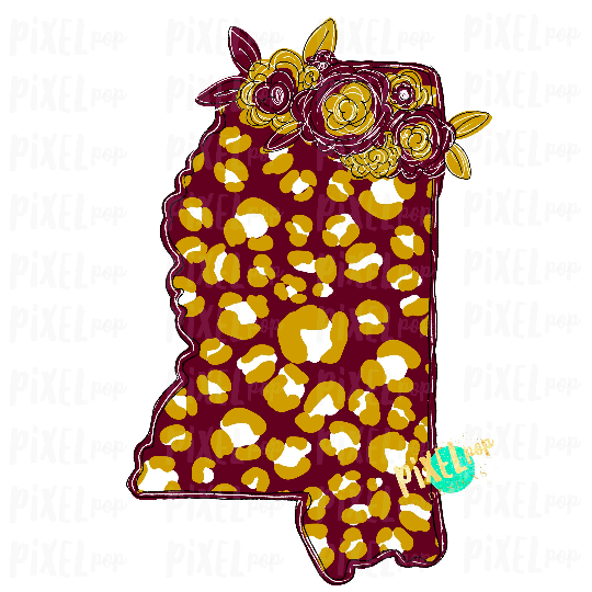 State of Mississippi Shape Maroon and Gold Leopard Flowers Sublimation | PNG Design | Heat Transfer | Digital Print | Clip Art
