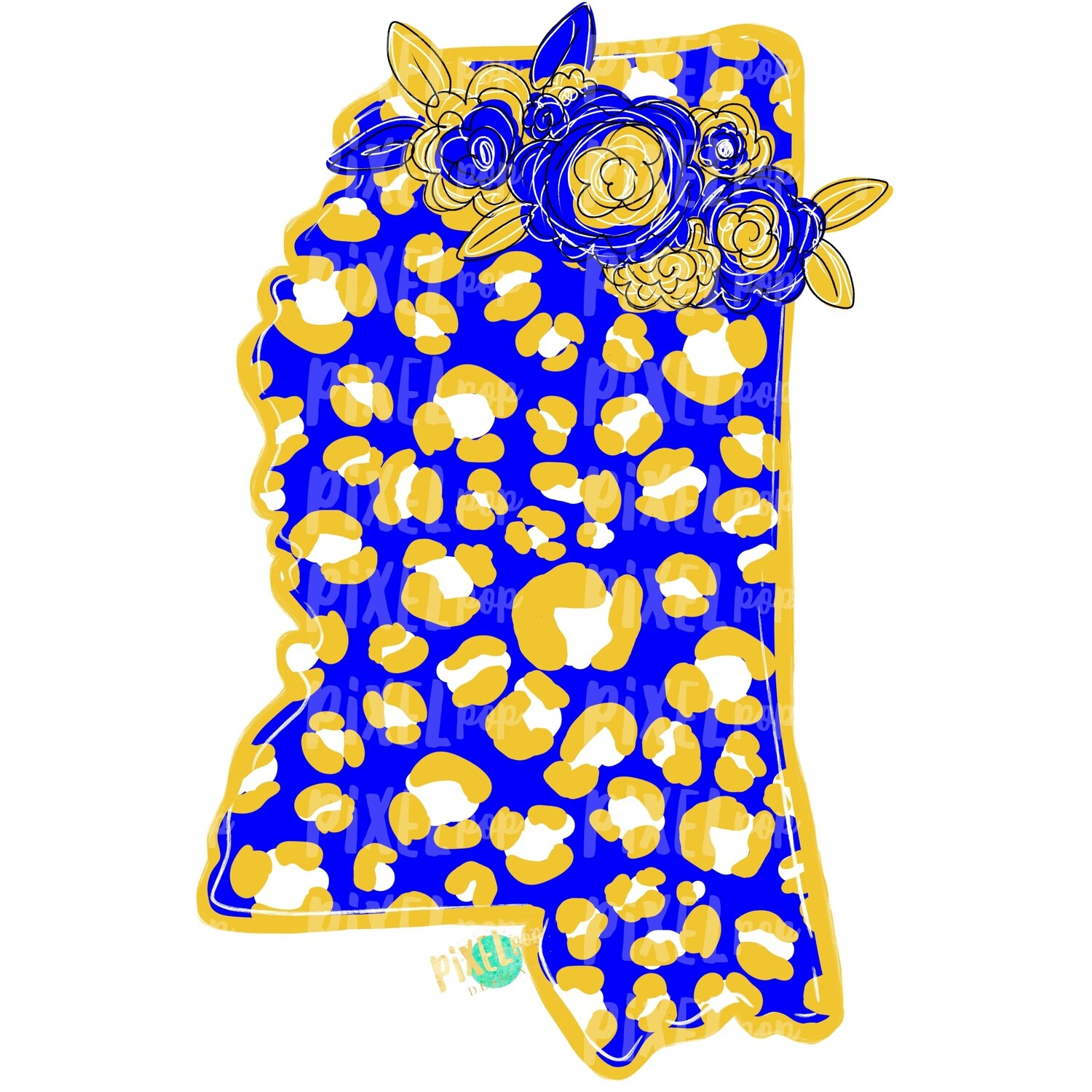 State of Mississippi Shape Blue and Yellow Leopard Flowers Sublimation | PNG Design | Heat Transfer | Digital Print | Clip Art