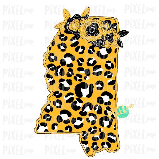 State of Mississippi Shape Black Gold Leopard Flowers Digital Art PNG | Sublimation Design | Heat Transfer | Digital Print | Clip Art
