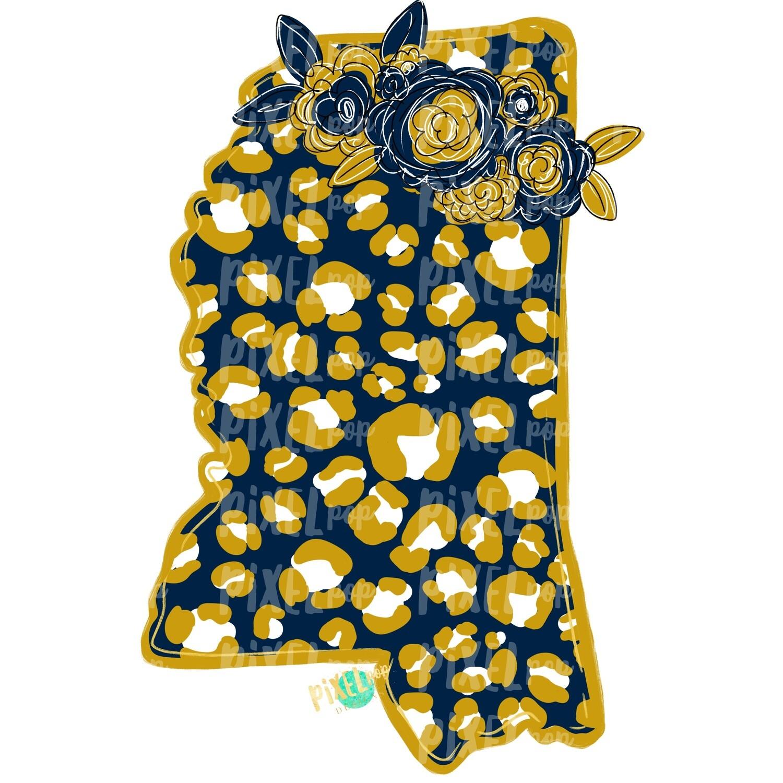 State of Mississippi Shape Navy and Gold Leopard Flowers Sublimation | PNG Design | Heat Transfer | Digital Print | Clip Art