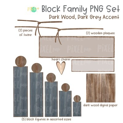 Wooden Block Family PNG Set Dark Wood Dark Grey Accents with Accessories | Family Portrait Art | Wooden Blocks | Family Design