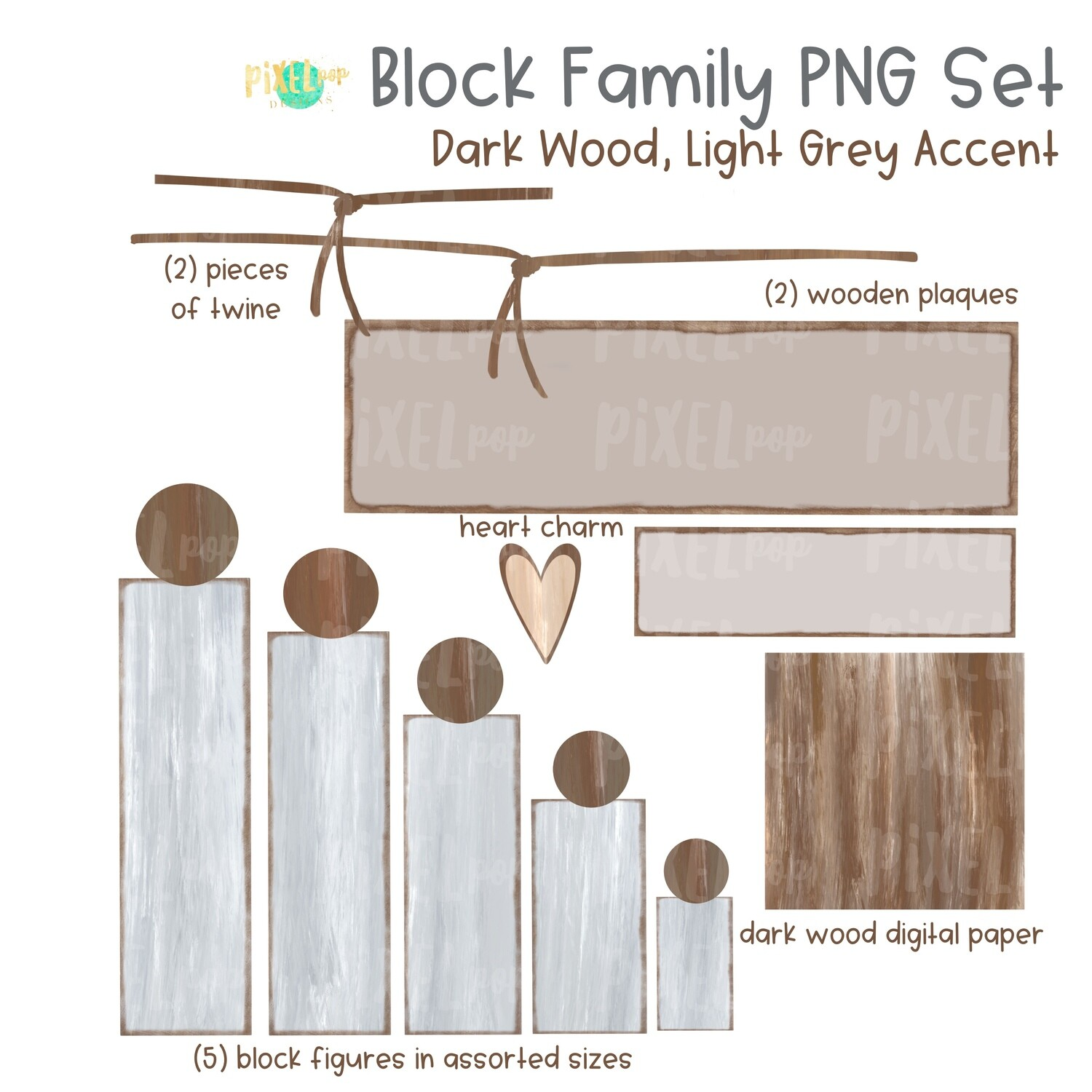 Wooden Block Family PNG Set Dark Wood Light Grey Accents with Accessories | Family Portrait Art | Wooden Blocks | Family Design