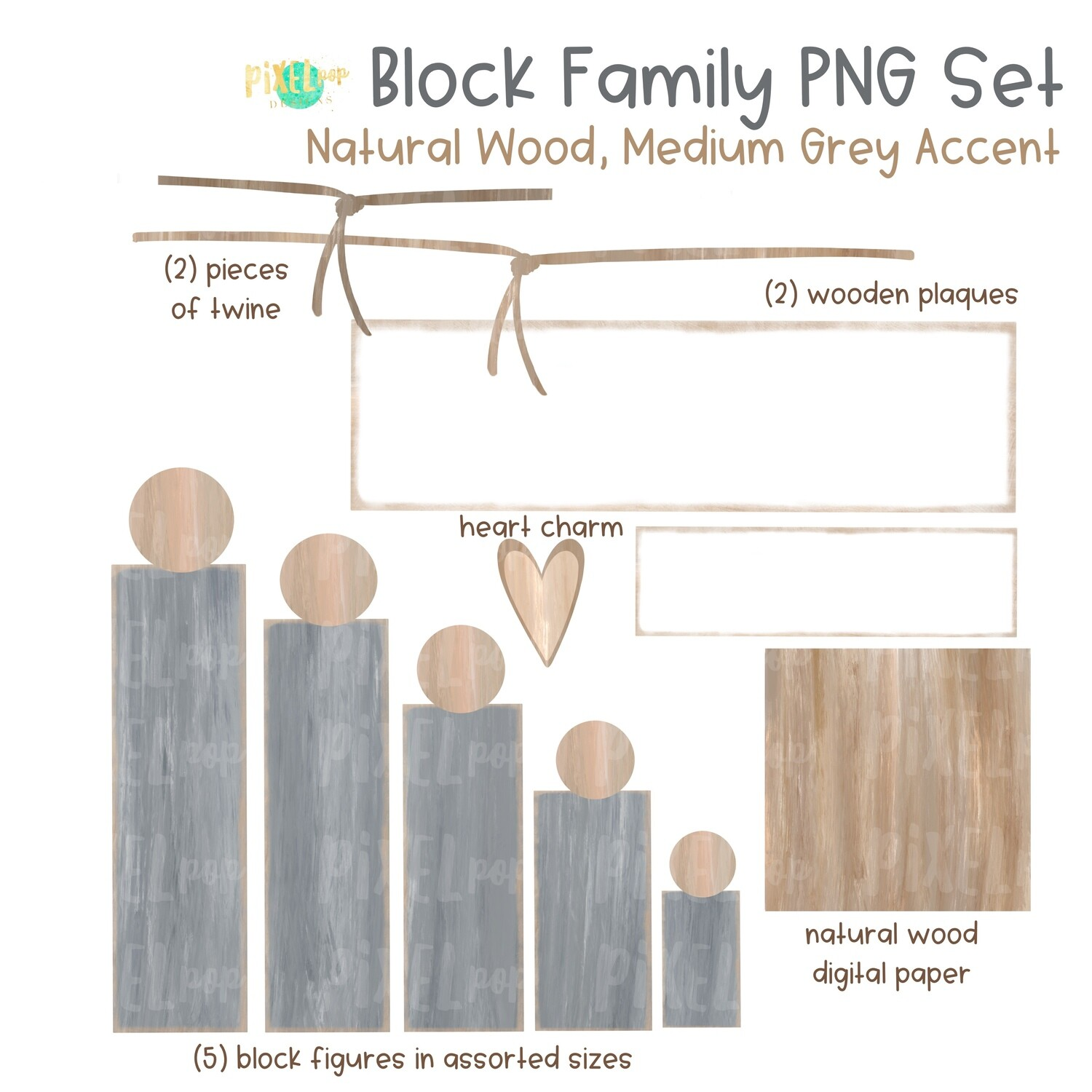 Wooden Block Family PNG Set Natural Wood Medium Grey Accents with Accessories | Family Portrait Art | Wooden Blocks | Family Design
