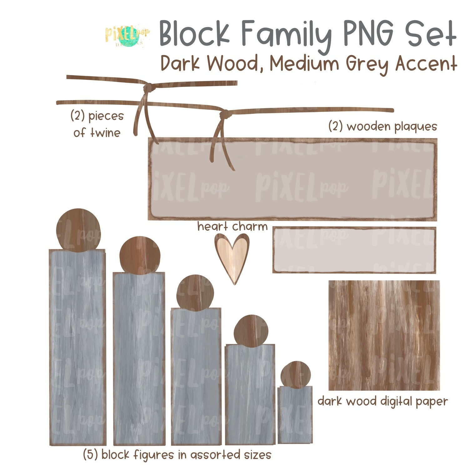 Wooden Block Family PNG Set Dark Wood Medium Grey Accents with Accessories | Family Portrait Art | Wooden Blocks | Family Design