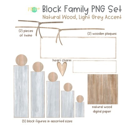 Wooden Block Family PNG Set Natural Wood Light Grey Accents with Accessories | Family Portrait Art | Wooden Blocks | Family Design