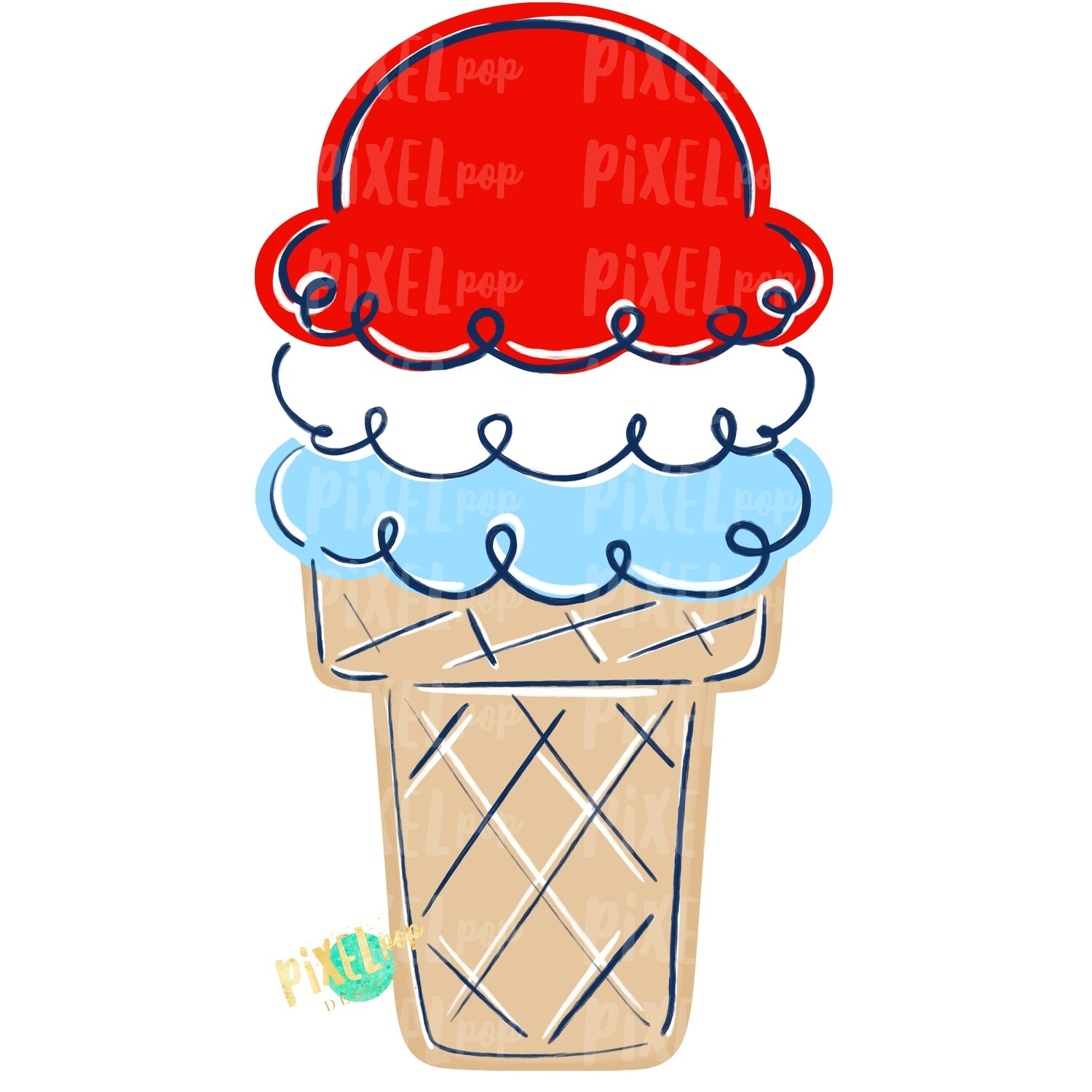 July 4th Ice Cream PNG | Independence Day | Ice Cream | Sweets | Sublimation Design | Hand Painted Digital Art | Digital Download | Clip Art