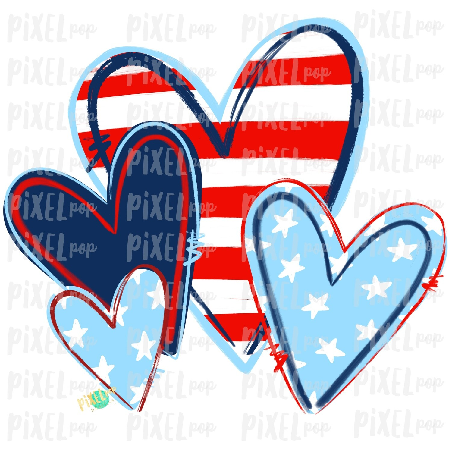 Independence Day July 4th Hearts PNG | Red White Blue Hearts | Hearts Design | July 4th Hearts | Digital Design | Printable Art