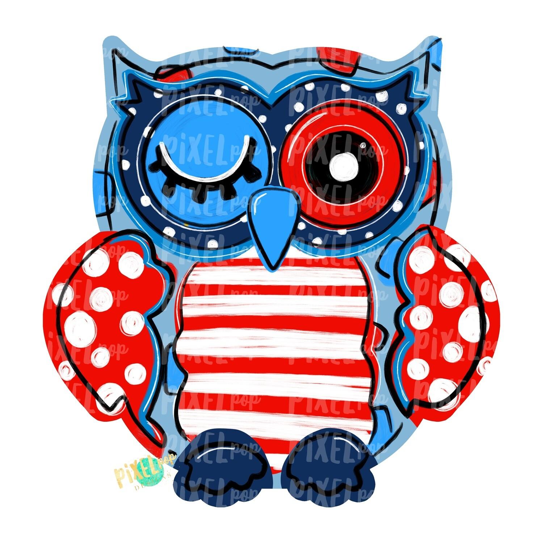July 4th Owl PNG   Owl Sublimation   Owl Design   Hand Painted Digital Art   Owl   Printable Art   Digital Download   Red White Blue