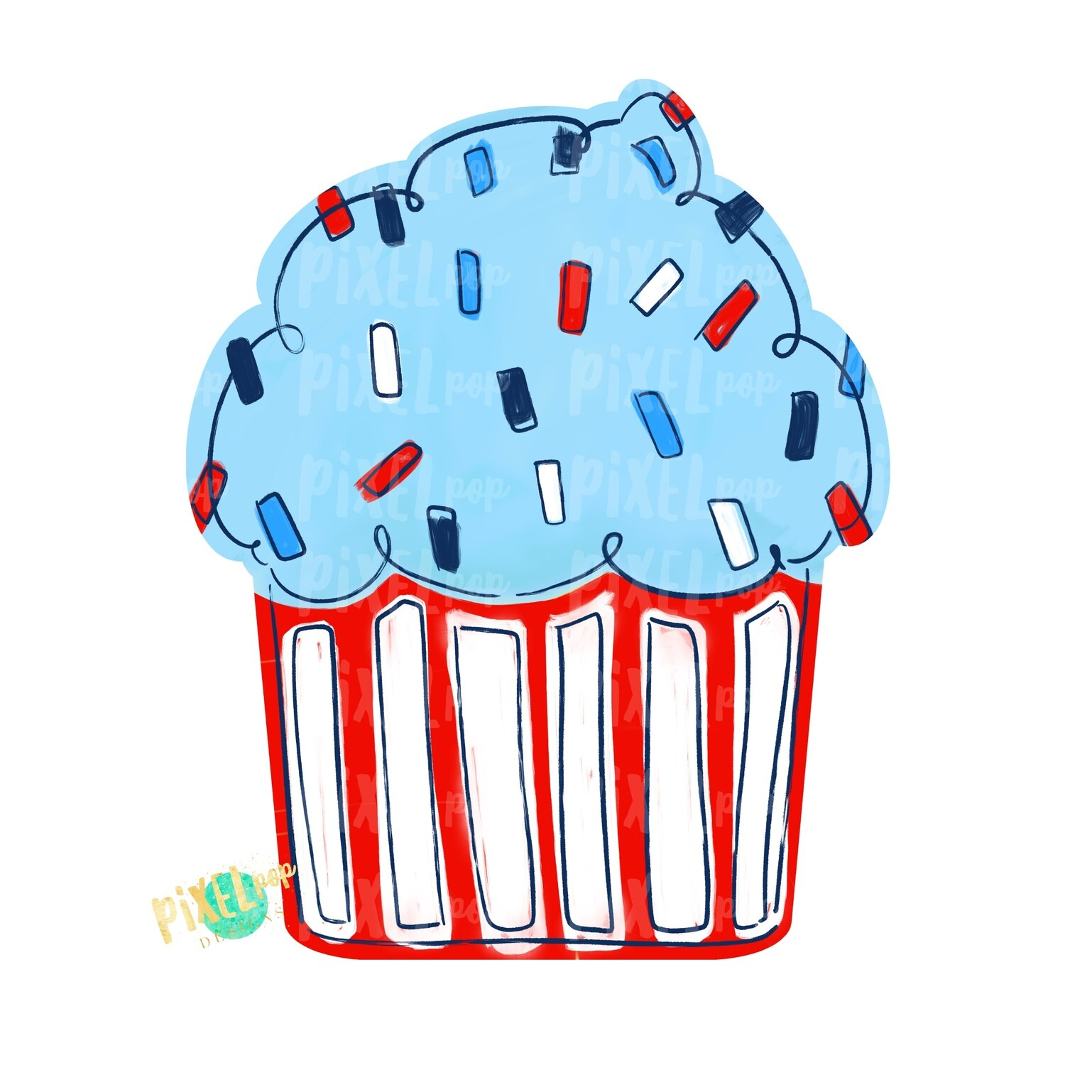 Red White Blue July 4th Cupcake PNG | Cupcake | Cupcake Door Hanger PNG | Sublimation | Digital Download | Red White Blue | 4th