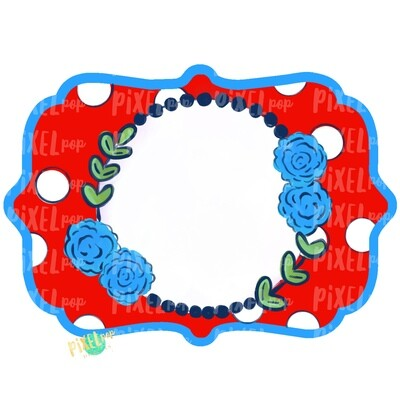 July 4th Chic Frame Red White Blue PNG | Hand Painted Frame Design | Independence Day Art | Digital Download | Printable Artwork | Art