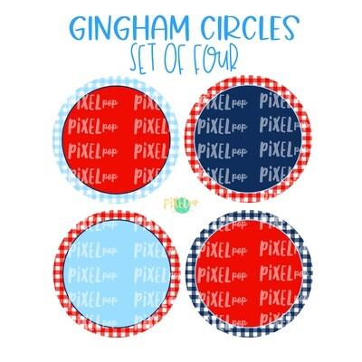 Red White Blue Gingham Digital Circle Set of Four PNG | July 4 Background Set | Sublimation | Digital Download | Printable Art | 4th of July