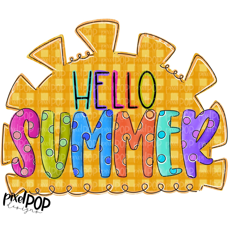 Hello Summer Sun Design PNG | Summer PNG | Sun Design | Hello Summer Sublimation PNG | Digital Download | Printable Art | Summer Seasons Art