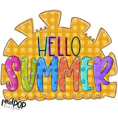 Hello Summer Sun Design PNG   Summer PNG   Sun Design   Hello Summer Sublimation PNG   Digital Download   Printable Art   Summer Seasons Art