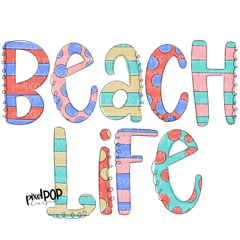 Beach Life Stripe Polka Dot PNG | River | Summer Design | Sublimation Design | Hand Drawn Art | Digital Download | Printable Art | Clip Art