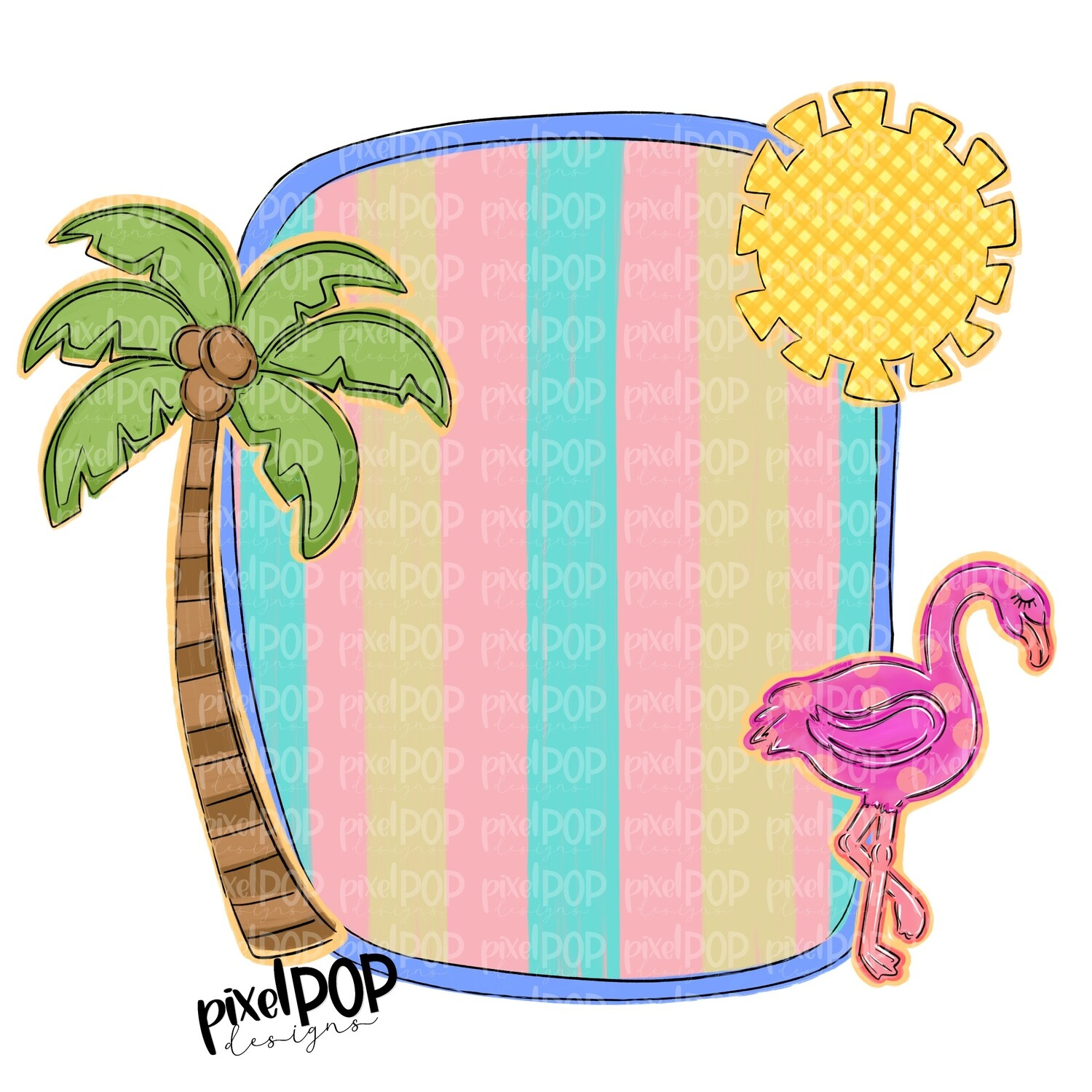 Beach Scene Blank Frame with Palm Sun Flamingo PNG   Sublimation   Hand Drawn PNG   Summer PNG   Digital Download   Printable Art   Clip Art