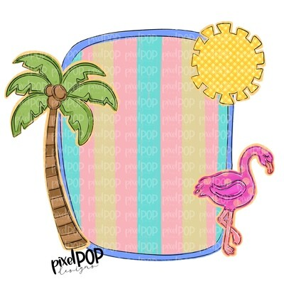 Beach Scene Blank Frame with Palm Sun Flamingo PNG | Sublimation | Hand Drawn PNG | Summer PNG | Digital Download | Printable Art | Clip Art