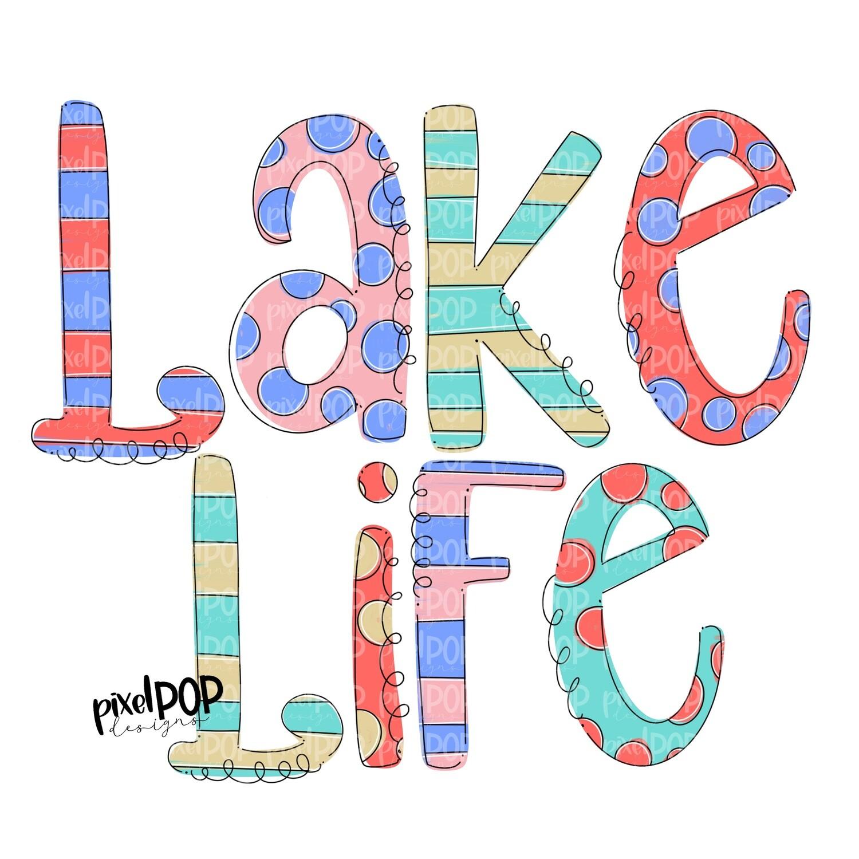 Lake Life Stripe Polka Dot PNG | River | Summer Design | Sublimation Design | Hand Drawn Art | Digital Download | Printable Art | Clip Art