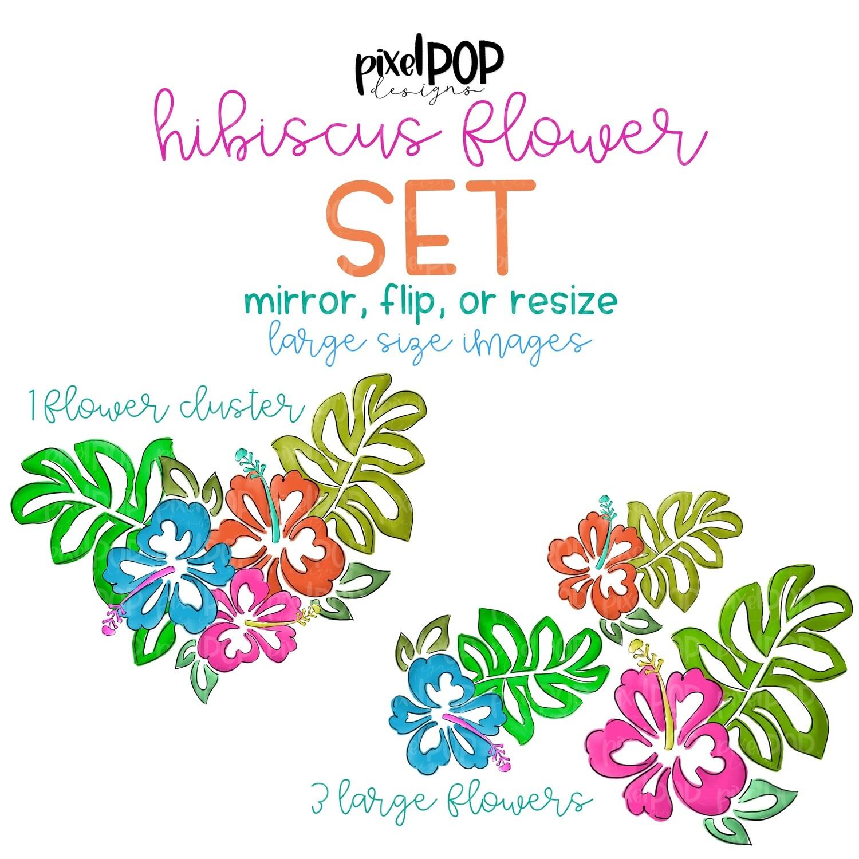 Hibiscus Flowers Digital Elements Set | Hibiscus | Flower Clip Art Set | Sublimation Design | Digital Download | Printable | Digital Flowers