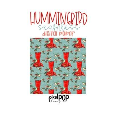 Hummingbird Seamless Digital Paper PNG | Hummingbird Art | Hand Painted | Sublimation | Digital Download | Digital Scrapbooking Paper