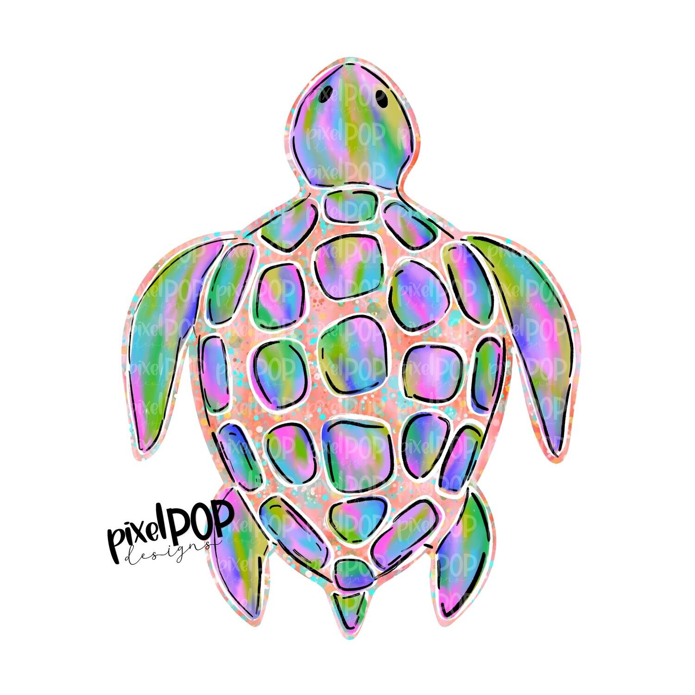 Coral Sea Turtle PNG | Turtle | Turtle Art | Hand Painted | Digital Ocean Art | Animal Art | Turtle Clip Art | Turtle Digital | Animal Art