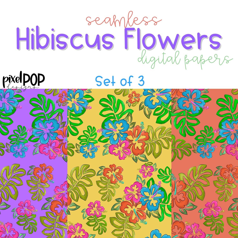 Hibiscus Seamless Digital Paper Set of Three PNG | Hand Painted Hawaiian Flowers | Sublimation PNG | Digital | Digital Scrapbooking Paper