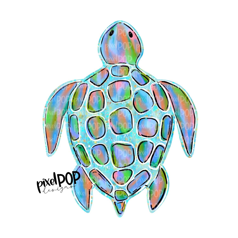 Blue Sea Turtle PNG | Turtle | Turtle Art | Hand Painted | Digital Ocean Art | Animal Art | Turtle Clip Art | Turtle Digital | Animal Art