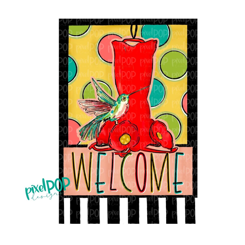 Hummingbird and Feeder Garden Flag Design PNG | Sublimation Digital Design | Hand Painted Bird | Bird Digital | Printable Art | Clip Art