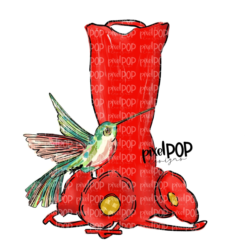 Hummingbird and Feeder PNG   Sublimation Digital Design   Hand Painted Bird   Watercolor Bird Digital Download   Printable Art   Clip Art