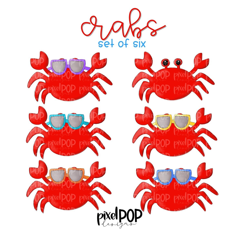Crab with Sunglasses Set of Six PNG | Crab | Coastal Art | Ocean | Crab | Sublimation Design | Digital Download | Printable Art | Clip Art