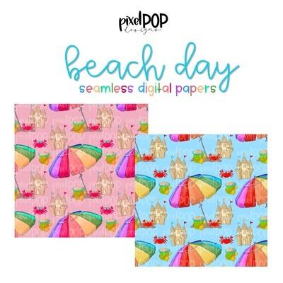 Beach Day Pink Seamless Digital Paper Set of Two PNG | Beach Crab Sandcastle Art | Hand Painted | Digital Download | Digital Scrapbooking