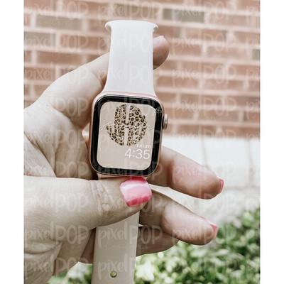 Leopard + Tan Monogram Apple Watch Wallpaper