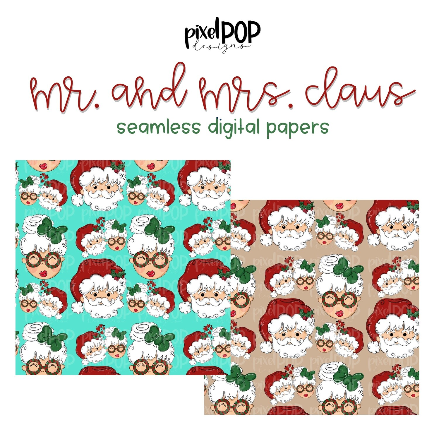 Mr. and Mrs. Claus Seamless Digital Paper Set of Two PNG   Christmas Art   Hand Painted   Digital Download   Digital Scrapbooking