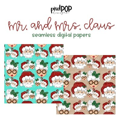 Mr. and Mrs. Claus Seamless Digital Paper Set of Two PNG | Christmas Art | Hand Painted | Digital Download | Digital Scrapbooking