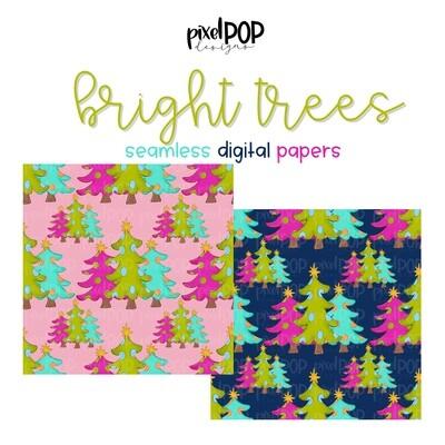 Bright Trees Seamless Digital Paper Set of Two PNG | Christmas Art | Hand Painted | Digital Download | Digital Scrapbooking