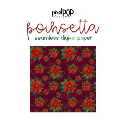 Poinsettia Christmas Seamless Digital Paper PNG | Flower Paper | Hand Painted | Sublimation | Digital Download | Digital Scrapbooking Paper