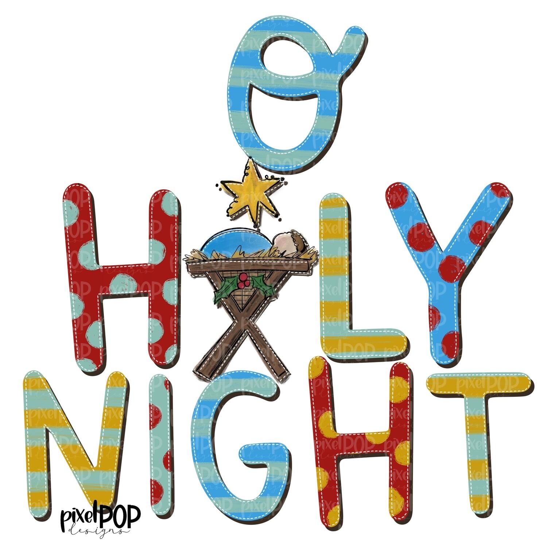 O Holy Night Manger PNG | Christmas Night Design | Jesus Baby | Sublimation PNG | Digital Download | Printable Artwork | Christmas Art