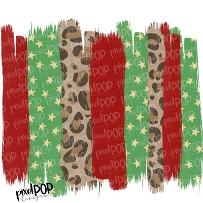 Christmas Leopard Red Green Brush Strokes Background PNG | Holiday Background | Digital Art | Background | Christmas Art | Leopard Digital