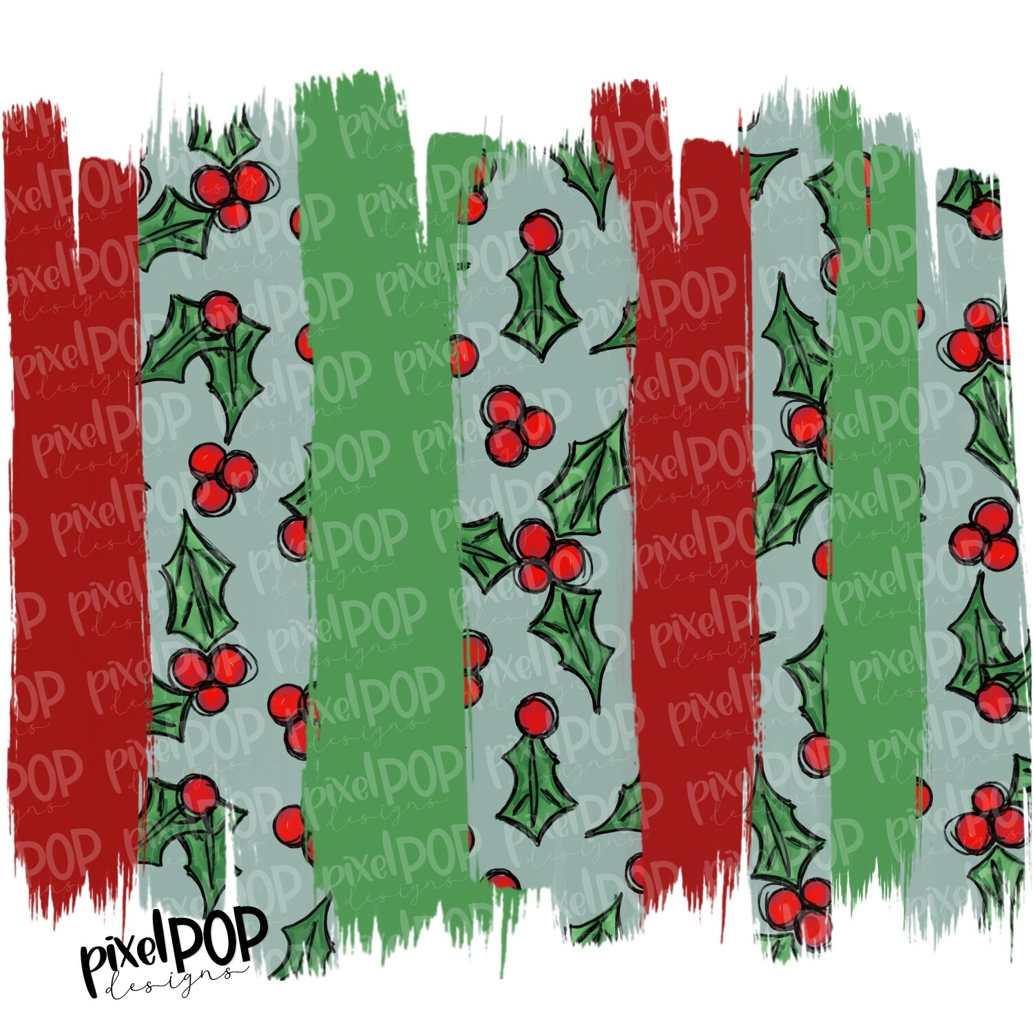 Holly Brush Strokes Background PNG | Holly Design | Christmas Holiday Background | Digital Art | Background | Christmas Art | Digital Image
