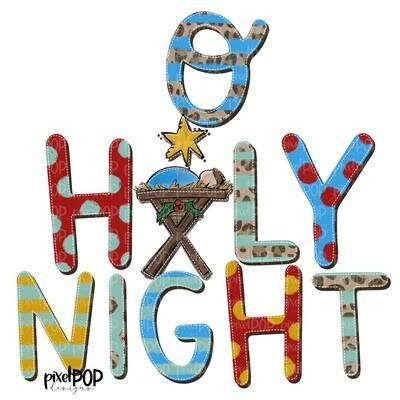 O Holy Night Leopard Manger PNG   Christmas Night Design   Jesus Baby   Sublimation PNG   Digital Download   Printable Artwork   Christmas Art