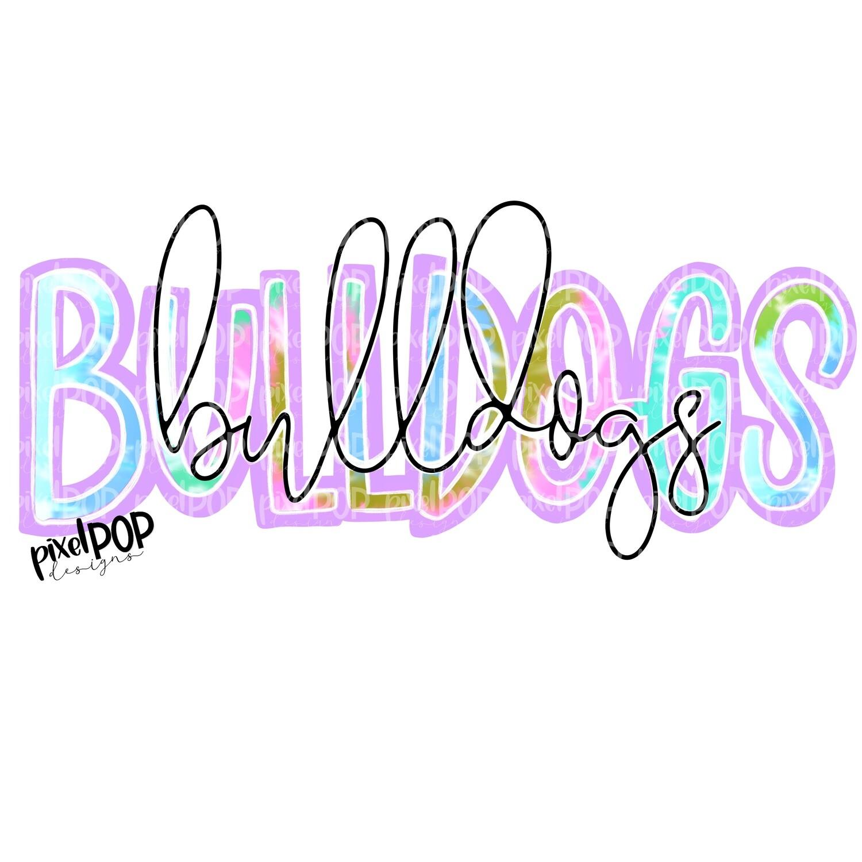 Bulldogs Tie Dye Mascot PNG | Bulldogs Sublimation Design | Team Spirit Design | Bulldogs Clip Art | Digital Download | Printable Artwork