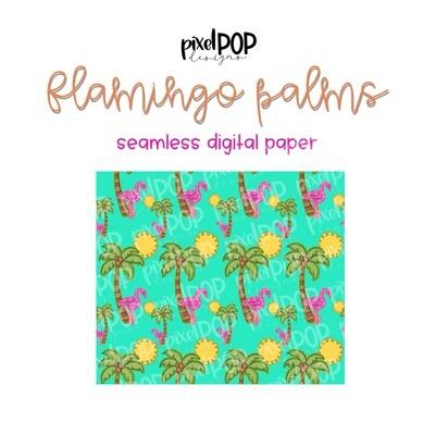 Flamingo Palms Seamless Digital Paper PNG | Flamingo Art | Hand Painted | Sublimation PNG | Digital Download | Digital Scrapbooking Paper