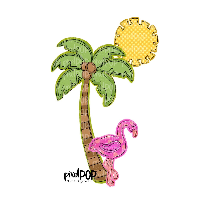 Flamingo Palm and Sun PNG | Beach Design | Palm Tree Digital | Flamingo | Watercolor Bird Digital Download | Printable Art | Clip Art