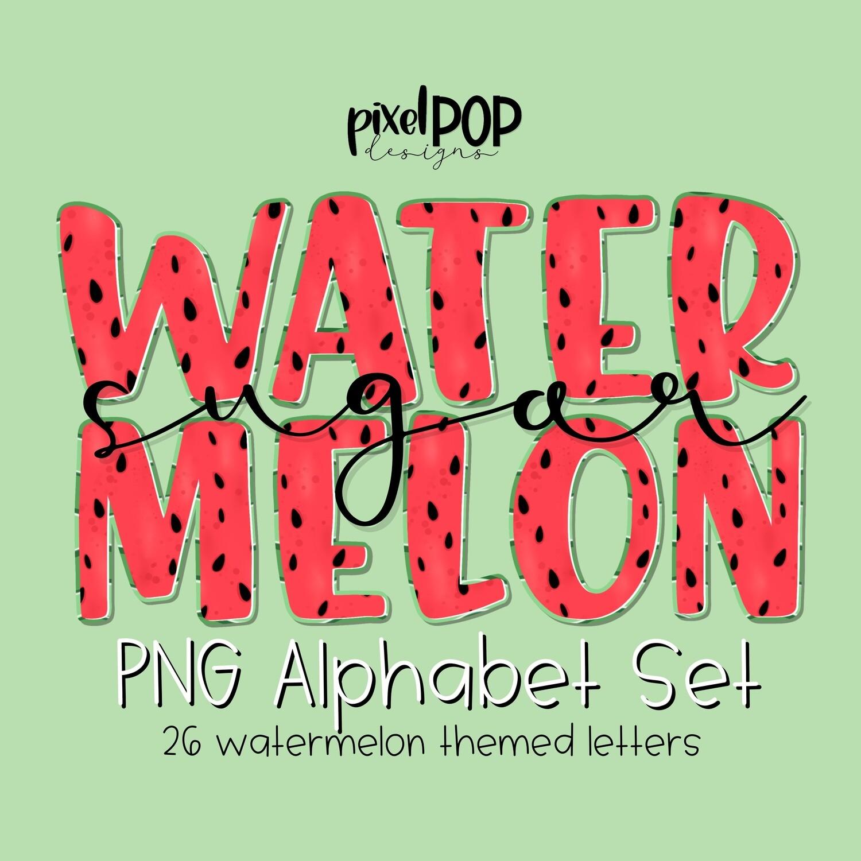 Watermelon PNG Alphabet Set | Hand Painted | Alphapack Font | Watermelon | Summer Print | PNG | Sublimation Doodle Letter | Transfer Letters