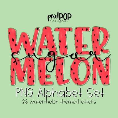 Watermelon PNG Alphabet Set   Hand Painted   Alphapack Font   Watermelon   Summer Print   PNG   Sublimation Doodle Letter   Transfer Letters