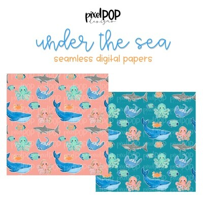 Under the Sea Seamless Digital Papers Set of Two PNG | Ocean Animals | Hand Painted | Sublimation | Digital Download | Scrapbooking Paper