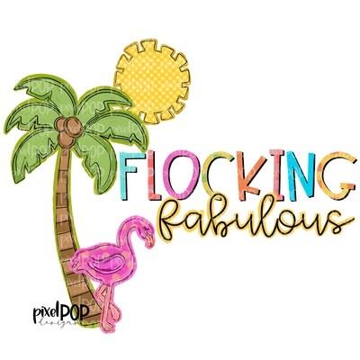 Flocking Fabulous Flamingo PNG | Beach Design | Palm Tree Digital | Flamingo | Watercolor Bird Digital Download | Printable Art | Clip Art
