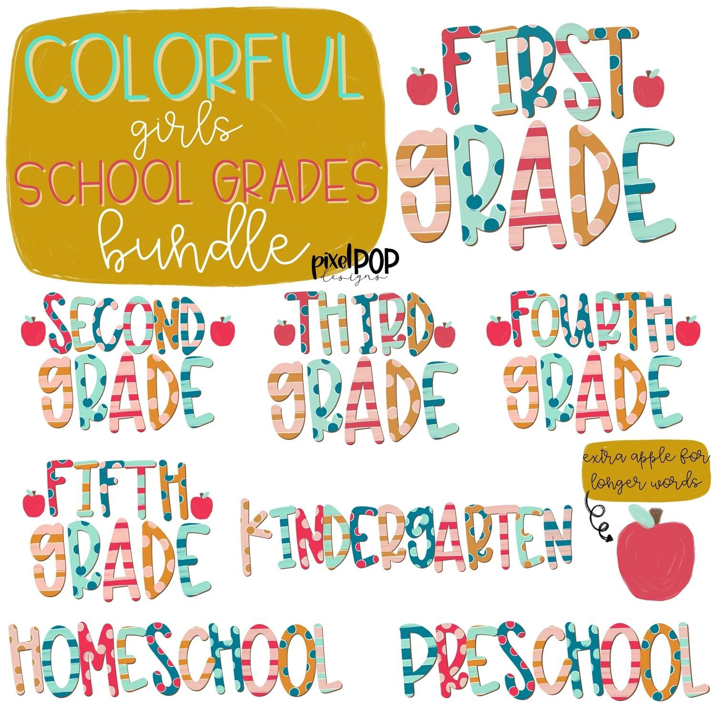 Colorful Girls Grades Bundle   School Design   Sublimation   Digital Art   Hand Painted   Digital Download   Printable Artwork   Art