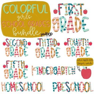 Colorful Girls Grades Bundle | School Design | Sublimation | Digital Art | Hand Painted | Digital Download | Printable Artwork | Art